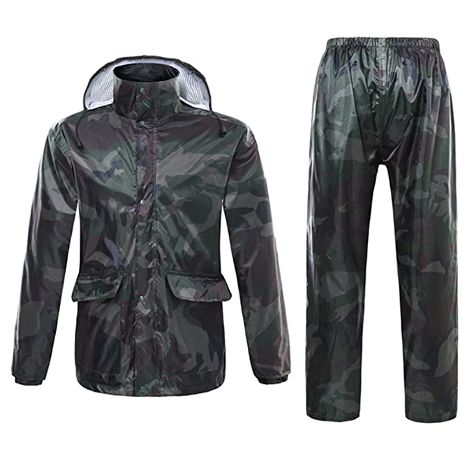 Zhhlinyuan Hombres Mujeres Camuflaje Raincoat Suits Impermeable Windproof Chaqueta de Lluvia con Capucha y Pantalones para