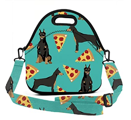 7b1acdccd4de Amazon.com - Insulated Lunch Tote Bag, Doberman Pinscher Pizza ...
