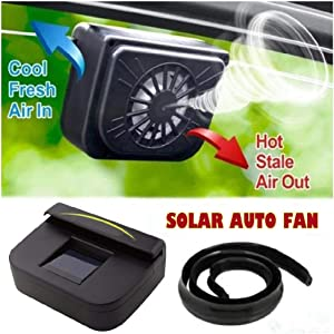 Ugood Automatic Fan with Fan Solar Sutomatic Cooling Fan Car Cooling Fan, Powered Portable Car Air Circulator Fan, Must Have for Baby in Summer (Black)