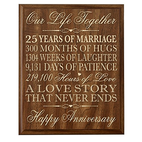 LifeSong Milestones 25th Wedding Anniversary Wall Plaque Gifts for Couple 25th Anniversary Gifts for Her 25th Wedding Anniversary Gifts for Him 12 W X 15