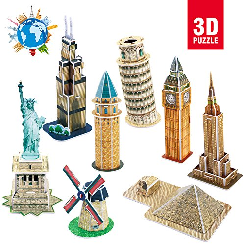 CubicFun 3D Puzzle,Mini DIY Puzzle Collection For Kids,Statue Of Liberty, Empire State Building, Egyptian Pyramid, Big Ben, C102h-2 3d Foam Kit