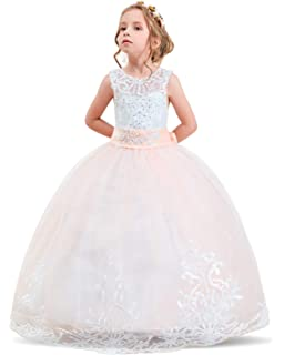 6c170dfb32a2 Amazon.com  NNJXD Girl Sleeveless Embroidery Princess Pageant ...