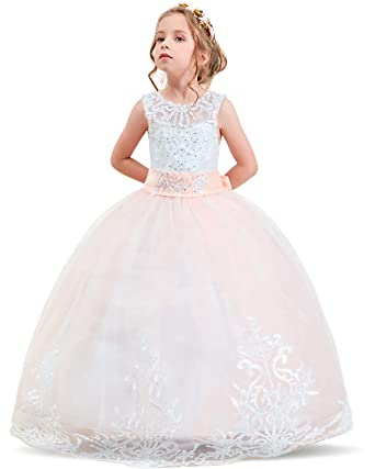 2246f0a355624 NNJXD Girls Princess Lilac Pageant Long Dress Kids Tulle Prom Ball Gowns  Size (130)