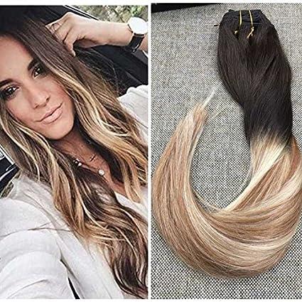 Ugeat Extensiones de cabello humano Remy para hombre, con clips, cabello real de Brasil