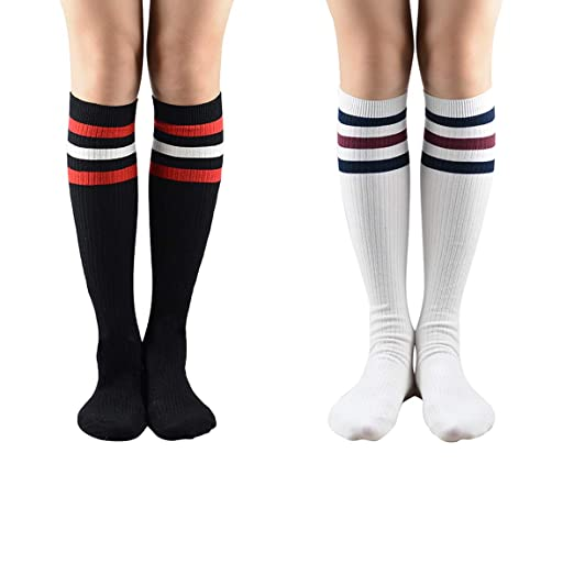 casual shoes good service amazing selection Over Knee Socks Womens Striped Tube Long Cotton Socks ...