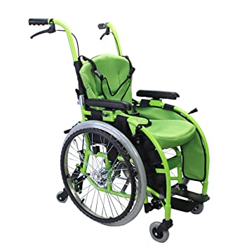 Sillas de ruedas Carro para niños Manual Scooter para discapacitados portátil Plegable Can Bear 100 kg (Color : Green, Size : 75 * 94 * 48cm): Amazon.es: ...