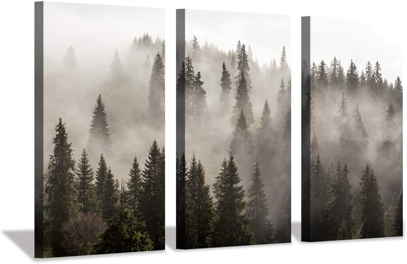 """Hardy Gallery Foggy Forest Picture Wall Art: Landscape Painting Misty Pine Trees Artwork Print on Canvas for Living Rooms Office (34""""x20""""x3pcs)"""