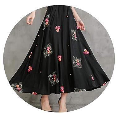 f21d0ad6e 2019 Summer Women Cotton Linen National Wind Long Skirt Elastic Waist  Embroidered Skirts,Black,