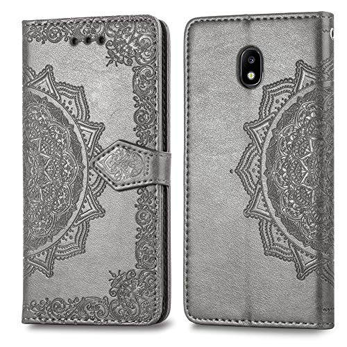 (Cmeka Mandala Wallet Case for Samsung Galaxy J7 2018,Slim 3D Relief Flower Flip Leather Protective Case,Magnetic Closure,Card Slots,Kickstand Function (Gray))