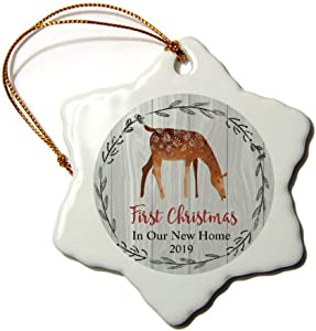 Mesllings A Feeding Deer Wreath First Christmas in Our New Home 2019 Christmas Ornament 3