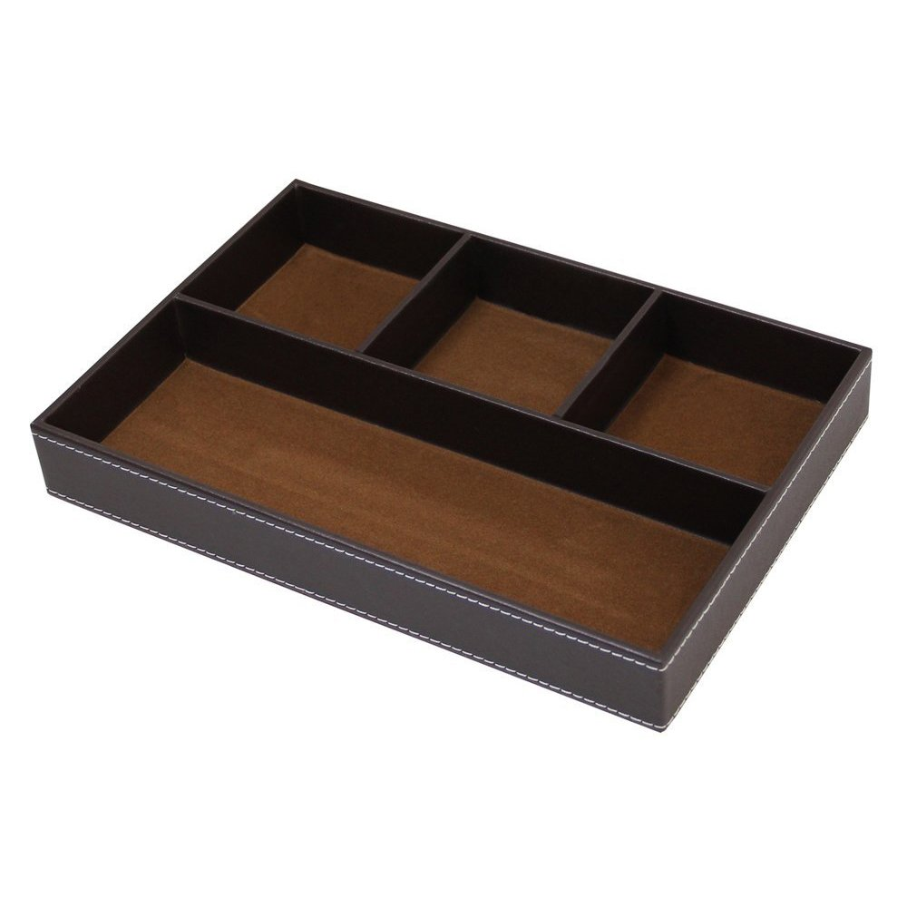 UnionBasic Flat 4-Slot Leather Drawer Tray Desk Stationery Sundries Gadget Organizer Storage Box Pen Pencil Holder Case Container (Brown)