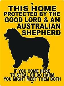PotteLove Metal Sign Aluminum Warning Sign Notice Sign Dog Plaque Australian Shepherd Aluminum Sign 04 for Farmhouse Yard Garden Home Door Outdoor Sign