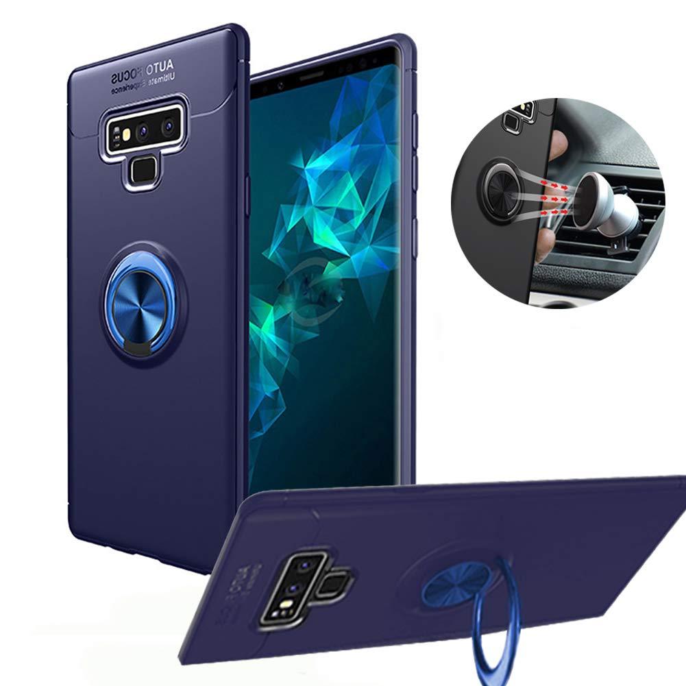 Hayder Samsung Galaxy Note 9 Case, 360° Adjustable Ring Stand Holder Kickstand Magnetic Car Mount for Note 9 (Blue+Blue)