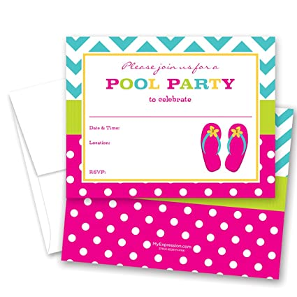 897d58ddbc6812 Image Unavailable. Image not available for. Color  24 Fill-in Girl Flip  Flops Pool Party Invitations