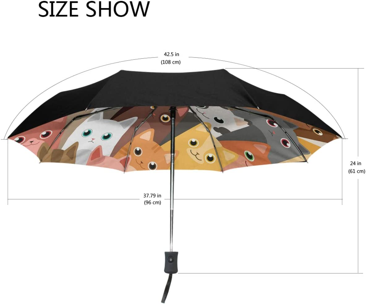 Cat Night Lights Wallpaper Compact Travel Umbrella Windproof Reinforced Canopy 8 Ribs Umbrella Auto Open And Close Button Personalized