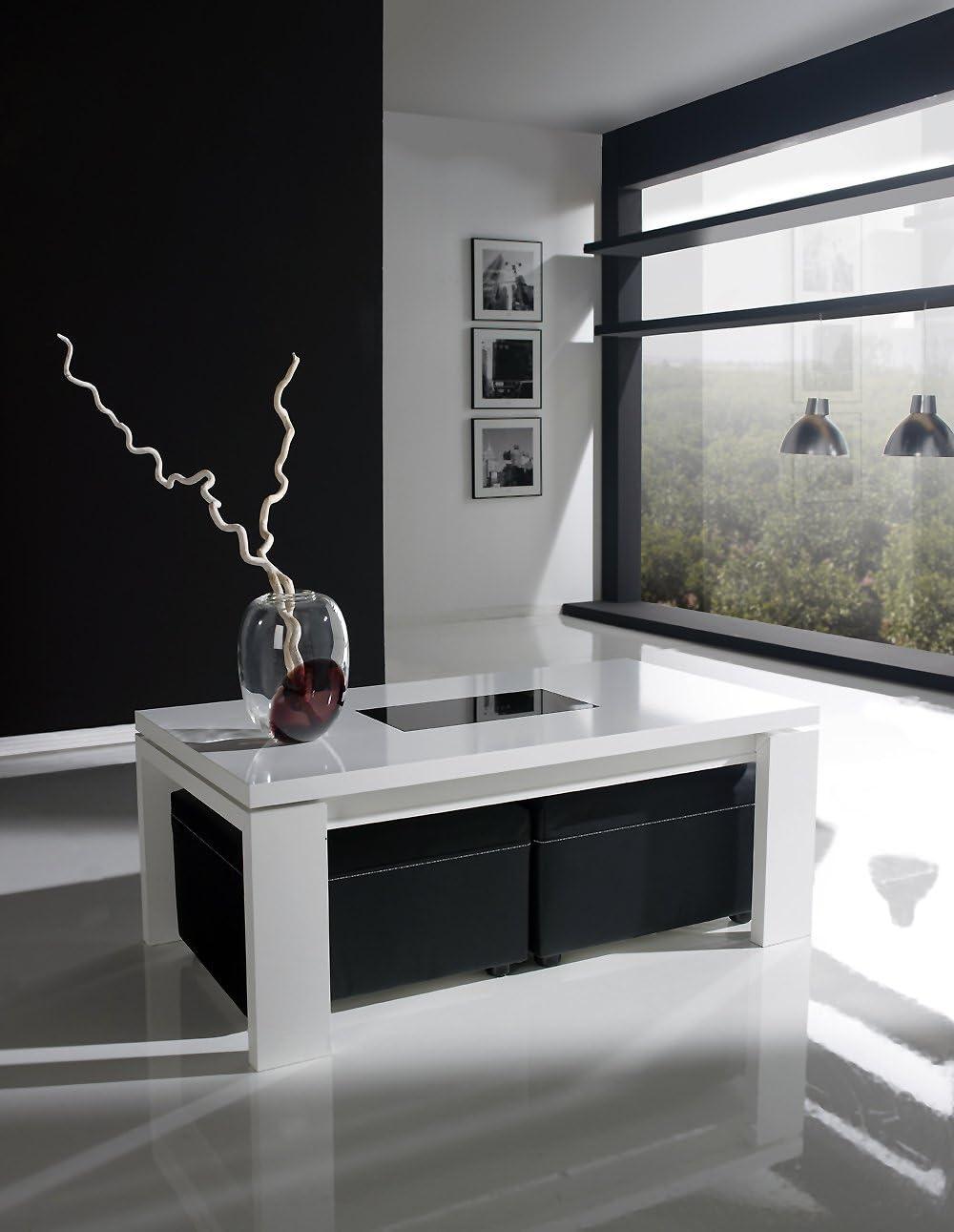 Mesa de centro con tapa elevable lacada en color blanco + dos ...