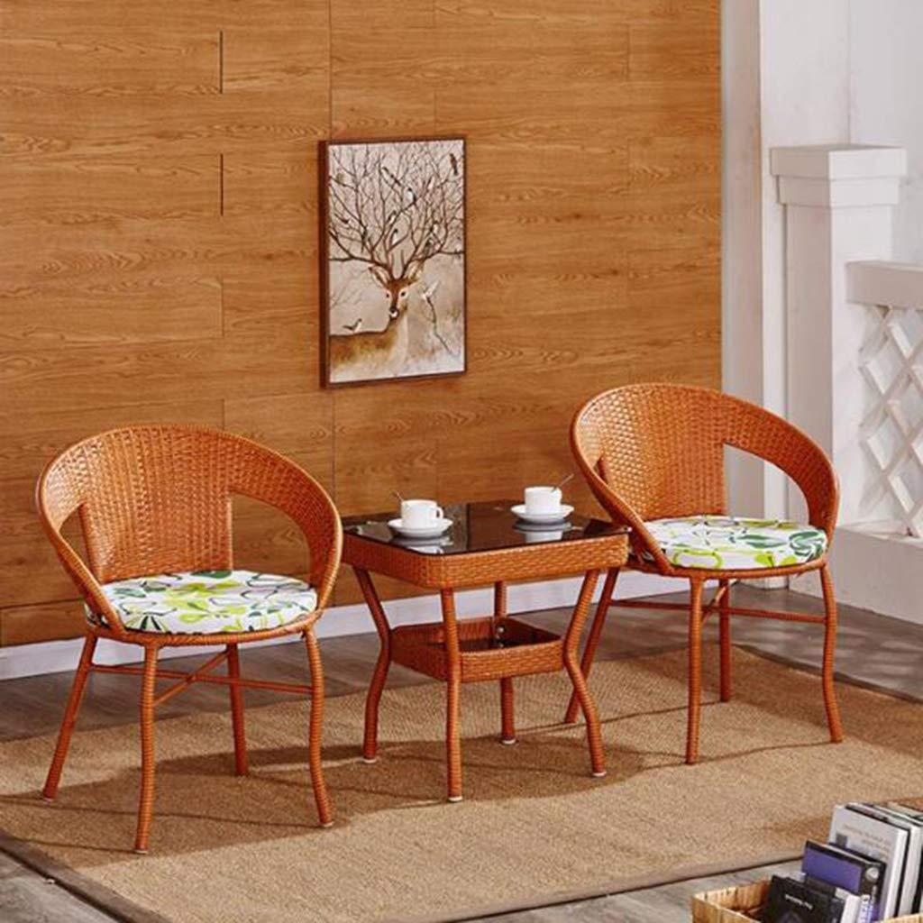 籐チェアガーデンポーチ杖椅子家具セット3ピースセットpe籐籐チェアベージュパッドテーブル屋外ガーデン家具セットバルコニーテーブルと椅子,Yellow B07PPND9G4 Yellow
