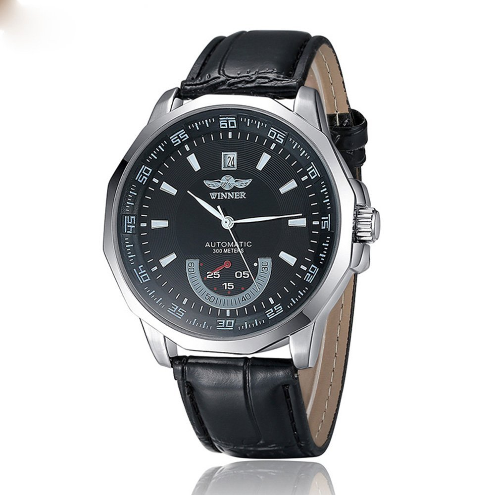 PASOY Men's Stainless Steel Case Black leather Strap Automatic self wind Black Dial Waterproof Watch