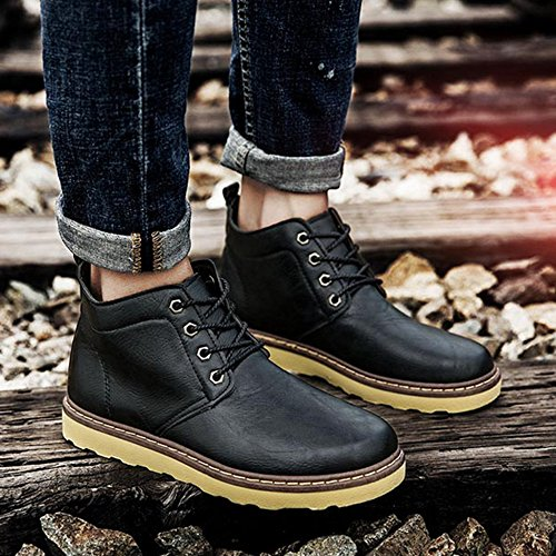 Da Antiscivolo Boot Uomo Lavoro Lace Black Impermeabile Autunno Fodera All'aperto Caviglia Up Combat Scarpe Escursionismo Stivali Martin f0dqnf