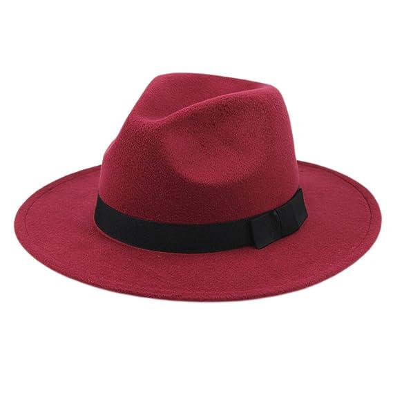 LUOEM Sombrero Fedora clásico unisex Sombrero de lana estructurada Sombrero  de Panamá Jazz Sombrero de vaquero d7ce84d2f4a