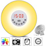 totobay Wake Up Light, {2nd Generation} Sunrise Simulation Snooze Alarm Clock Bedside Night Light with Nature Sounds, FM Radio, Touch Control and USB Charger