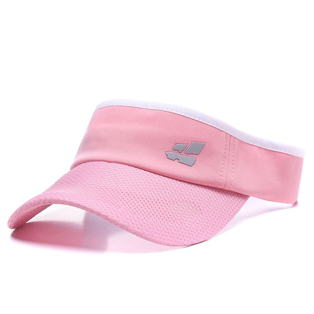 Women's Sun Visor, Girl's Summer Mesh Light Sports Golf Hat, Adjustable Velcro Strap Cap Pink