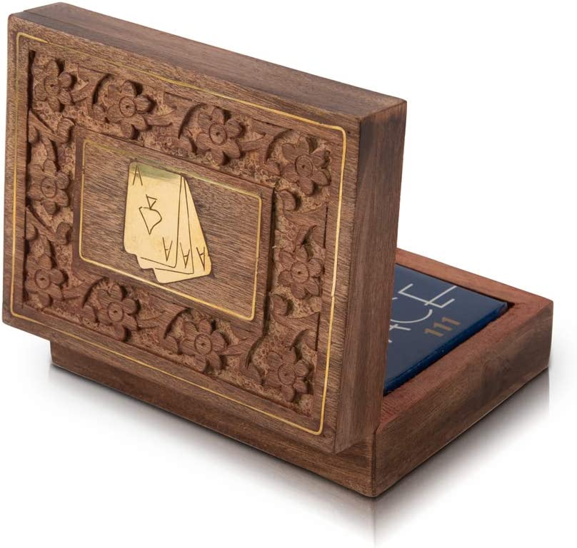 Unique Birthday Gift Ideas Handcrafted Classic Wooden Playing Card Holder Deck Box Storage Case Organizer With A Set of Premium Quality 'Ace' Playing Cards Anniversary Housewarming Gifts For Him Her