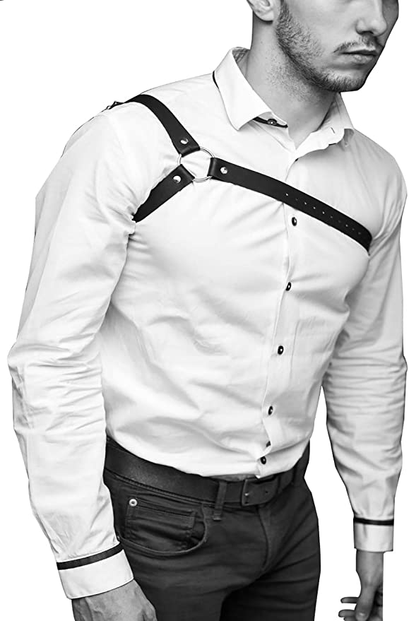 Details about  /Mens Leather Harness Body Chest Armor Buckles Adjustable Strap Belt Club Costume