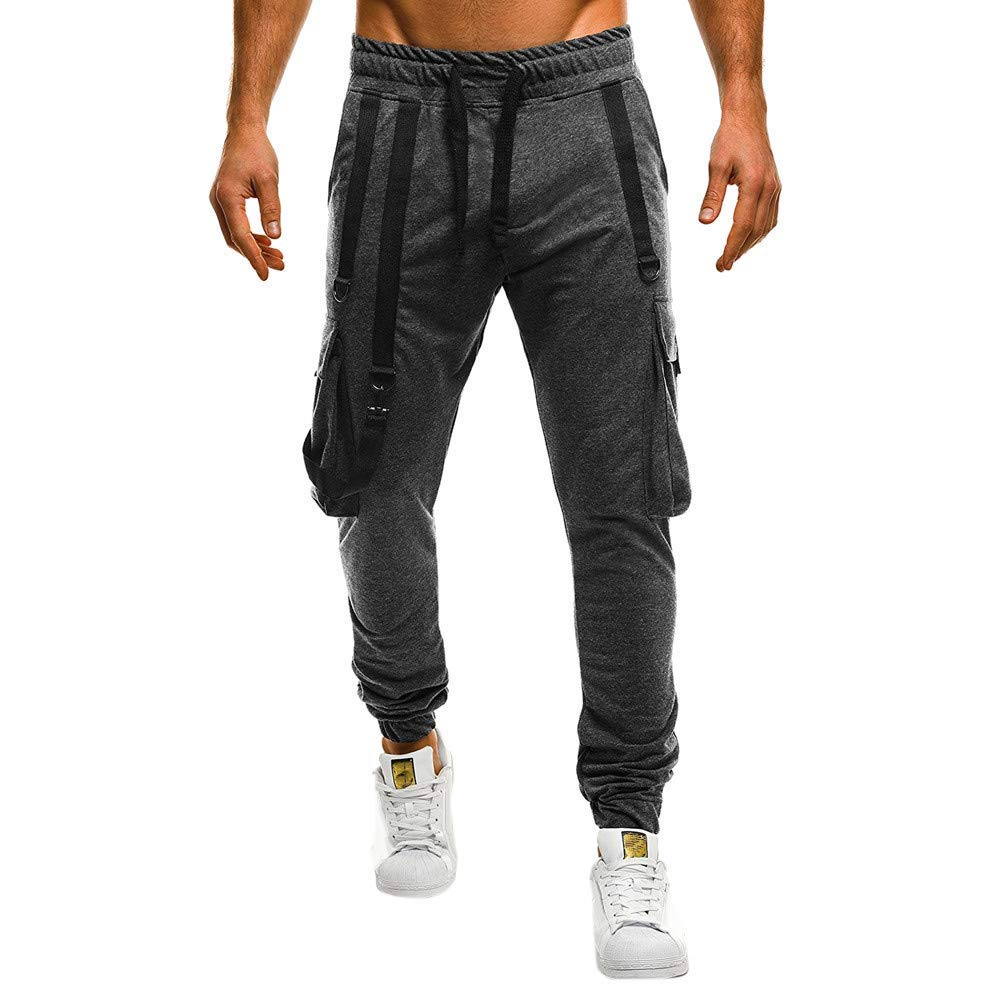 HaiDean män lastbyxor arbeta med byxor byxor vardag modern jogging sidofickor män smala bekväma träningsbyxor höst vinter mode vardagliga byxor Dunkelgrau