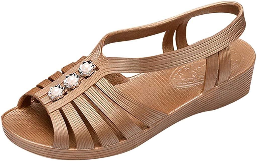 LuckyGirls Chic Sandalias Mujer Verano 2020 Playa Plana Zapatos Mujer Tacon Bajo Cuña Piscina Elegantes Sandalias de Mujer Agua Casual Vestir Comodas Punta Abierta