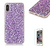 For iPhone X Case, iPhone 10 Cover with Free Screen Protector.Funyye Luxury Fashion Bling Glitter Paillette Flexible Soft Rubber Gel TPU Protective Case for iPhone X -Purple
