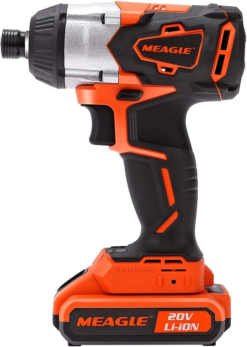 Meagle 20V Max 1 4 Cordless Impact Driver Powered by 2.0 Ah Lithium-Ion Battery – 3 Speed – Led Light – 1 Fast Charger – IW10BL-1200H