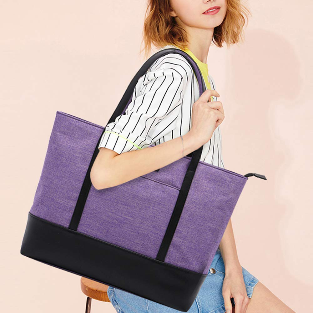 Laptop Tote Bag,Fits 15.6 Inch Laptop,Womens Lightweight Water Resistant Nylon Tote Bag Shoulder Bag Ideal for Her(C-Purple) by Sunny Snowy (Image #2)
