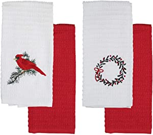 Red Cardinal Winter Christmas Wreath 4 Pack of Cotton Embroidered Kitchen Towels
