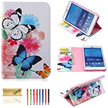 T330 Case, Tab 4 8.0 Case, Dteck(TM) Colorful Beautiful Print PU Leather Stand Flip Protective Case Cover with Card Slots Cash Pocket for Samsung Galaxy Tab 4 8.0 SM-T330 (04 White&Blue Butterfly)