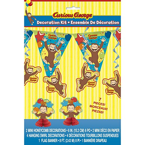 Curious George Party Supplies (7 piece Curious George Decorating Kit, (banner, centerpiece, and swirls) Birthday Party)