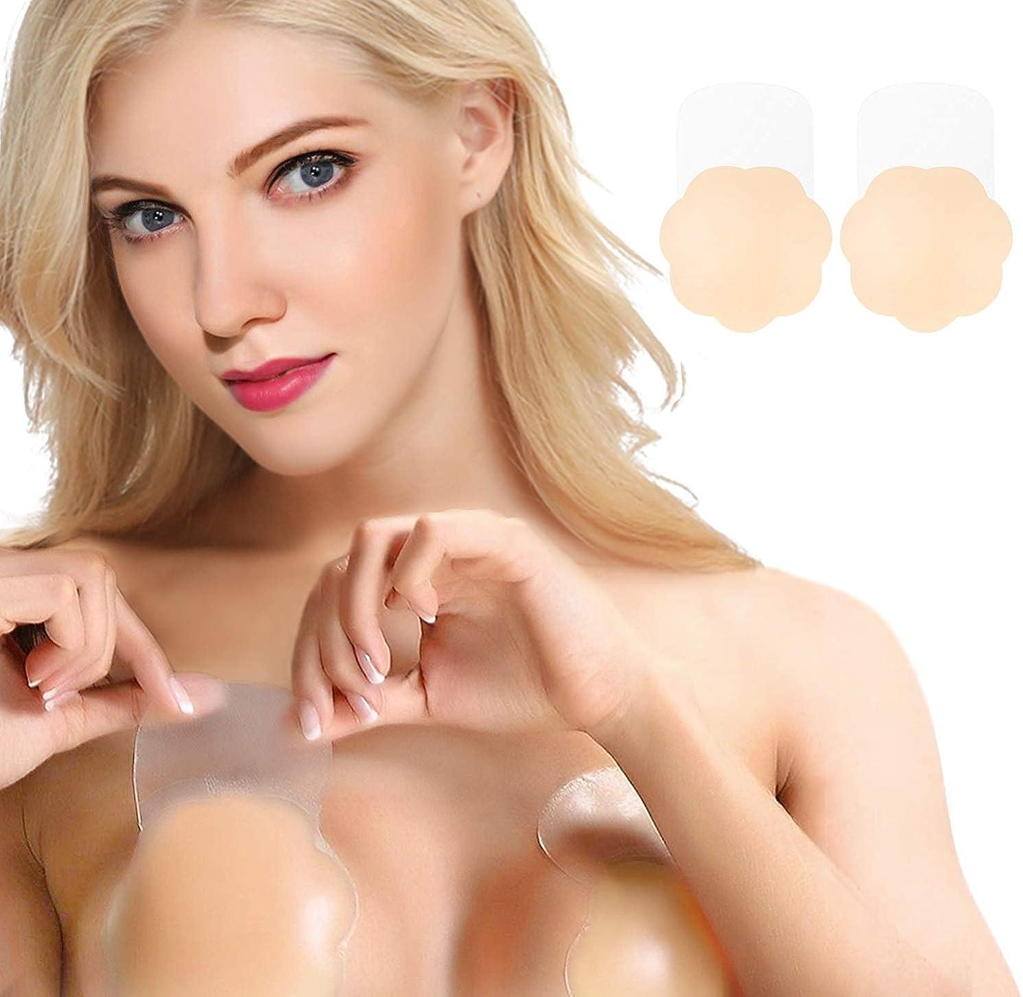 Sticky Bra Push Up,Women Breast Petals Lift Nipplecovers Adhesive Backless Strapless Bra