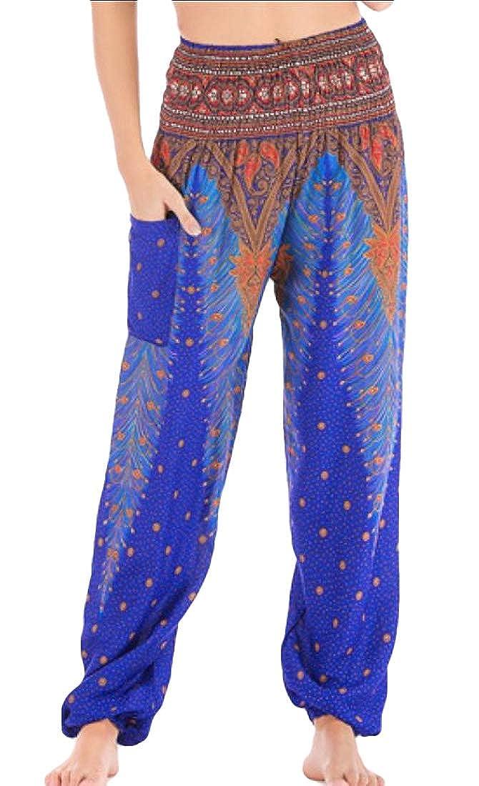 Generic Womens Smocked Waist Print Boho Harem Hippie Yoga Pants