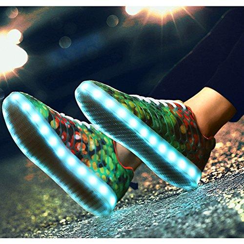 Adulte Chaussures Charge Led Lumineux Et Orange Mixte Couleurs Usb Baskets Homme Amant 7 Padgene Camouflage Rouge Sneakers Sport Femme De pXaWnXPd