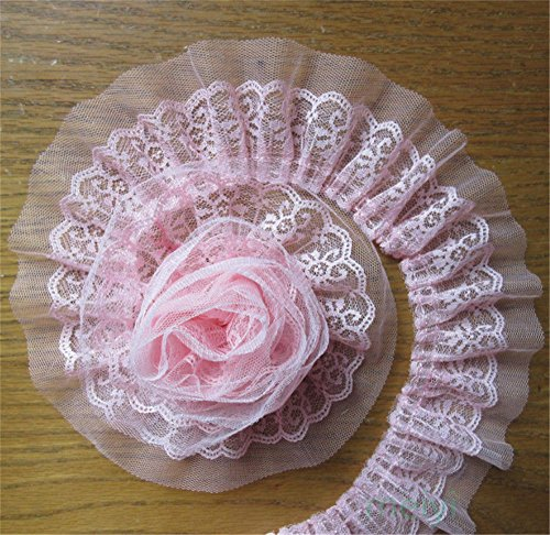 5 Yard 2-Layer Quality Pleated Organza Lace Edge Gathered Trim Ribbon 6 cm Width Vintage White Edging Trimmings Fabric Embroidered Applique Sewing Craft Wedding Dress DIY Decor Clothes Embellishment ()