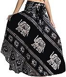 vvProud Women's Long Hippie Bohemian Skirt Gypsy Dress Boho Clothes with Elephant | One Size Fits Asymmetric Hem Design (Black Elephant)