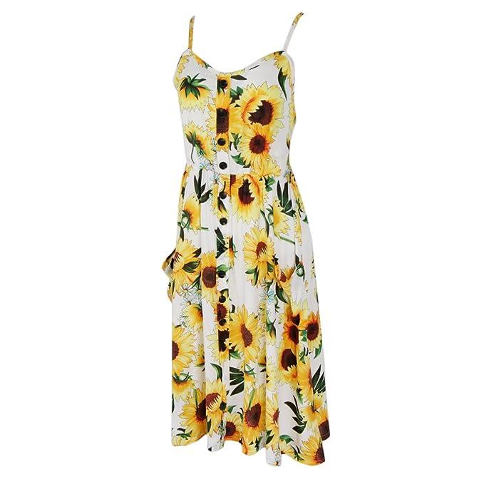 7c018a90a19 Homyl Vestido de Playa Tela Suave Transpirable Cómodo Espagueti Correa  Muchachas Mujeres - Girasol Blanco L
