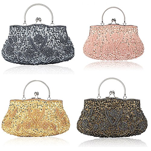 Collection Gold Floral Antique Bag Soft Bead Handbag Clutch Evening Clutch Seed Designer Large Sequin Purse r6rxgq5pw