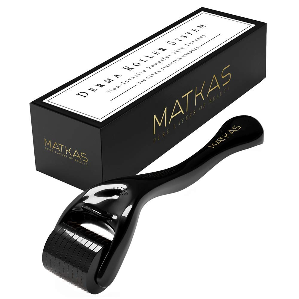 MATKAS Derma Roller For Face, 540 Ultra Titanium Needles, Non-Invasive Powerful Skin Therapy for Home Use, Facial Care, Cosmetic Needling Instrument, 0.25 mm. Includes Storage Case.