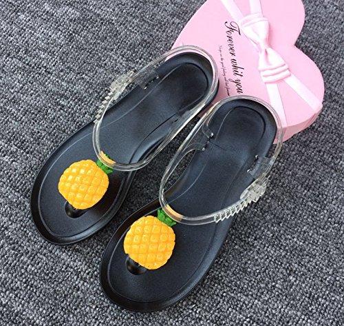 Xing Lin Sandalias De Mujer Sandalias De Verano Personalidad Femenina Preciosa Fruta Limón Harajuku Viento Toe Clips Playa Piso De Estudiantes Jelly Shoes All black sole