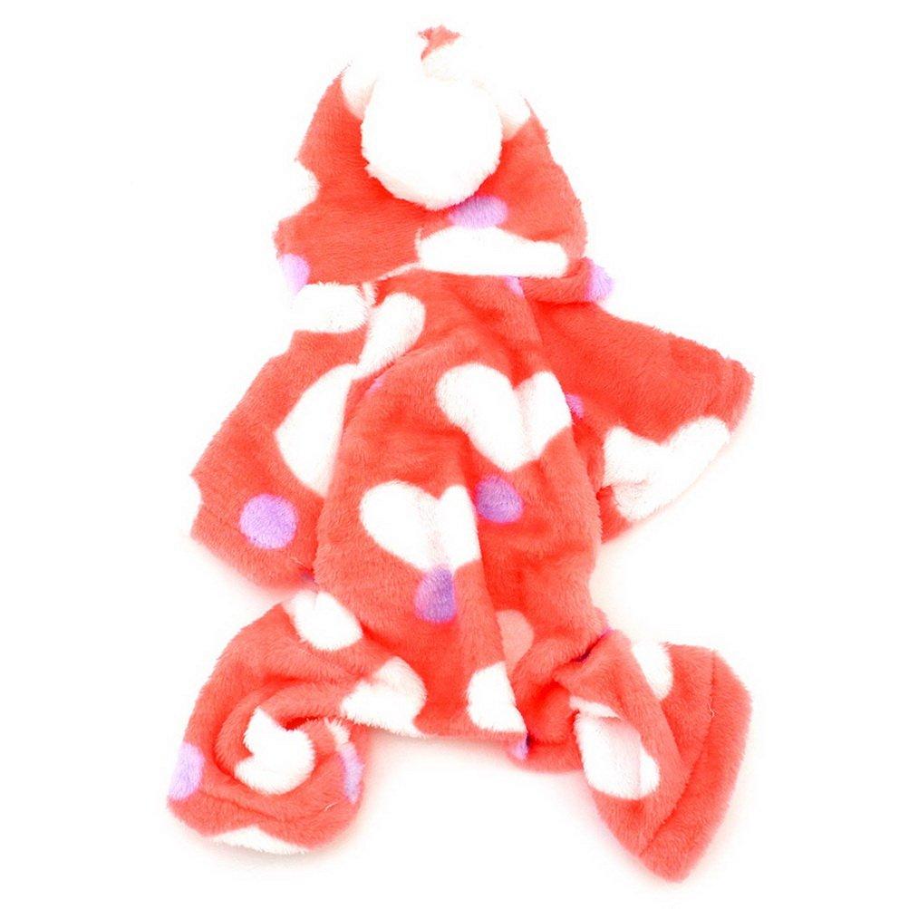 Selmai Petit Chien Pyjama en velours /à capuche JumpSuit Four-legs Pantalon doux Love Hearts Winter Pet V/êtements tenues V/êtements pour petit chat chiot Rose