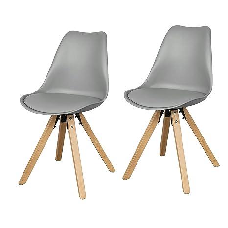 SoBuy Set 2 sedie Design Moderno Sedie Cucina Legno Gambe in ...