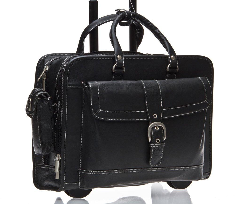 Business Laptop Tasche Mit Rollen Schwarz Leder 43.2cm Reisetasche Neu