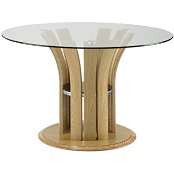 Jual Curve 120cm Dining Table   Oak Finish   Wood Veneer   Round Dining  Table  Jual Curve 120cm Dining Table   Oak Finish   Wood Veneer   Round  . Round Oak Dining Table Glass Top. Home Design Ideas