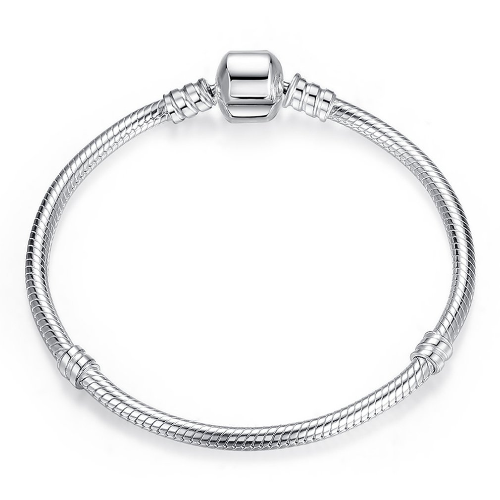 The Kiss Classic Snake Chain 925 Sterling Silver Charm Bracelet KISS02P902-17